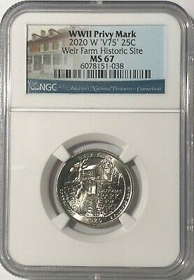 $ CDN169.29 • Buy 2020 W WEIR FARM HISTORIC NGC MS67 V75 WWII PRIVY QUARTER 25c NATIONAL PARK