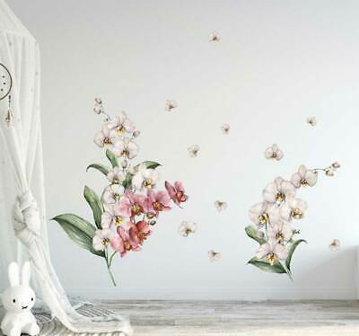 Orchid Branch Flower Wall Decal Kids Nursery Stickers Baby Cot Decor Art Mural • 16.66£