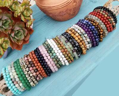 Handmade Natural Gemstone Round Beads Stretch Bracelet 4mm 6mm 8mm • 1.59£