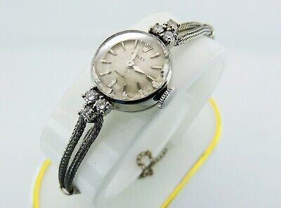 $ CDN1545 • Buy Rolex Precision 14K White Solid Gold Diamonds Vintage Women's Swiss Wristwatch
