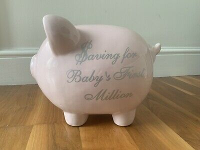Saving For Baby's First Million Giant Large Big 13  Pink Girls Babies Piggy Bank • 9.99£