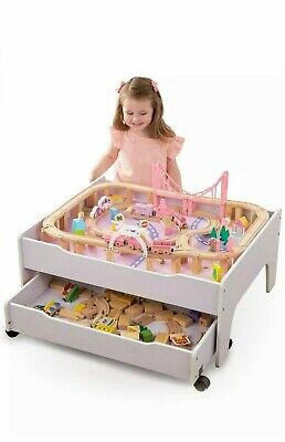 Wooden Train Table & City, Reversible With Drawer, Kids Girls Toy Train Set Pink • 68.99£