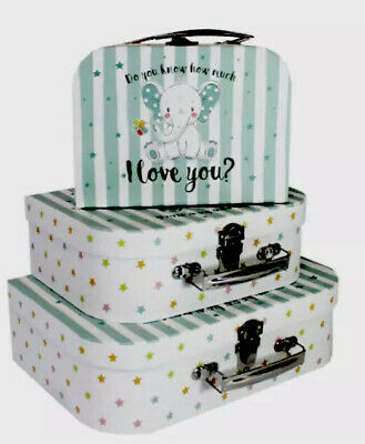 """Pretty Set 3  """"do You Know. How Much I Love You """"  Blue Suitcases 🌸 Brand New • 7.99£"""