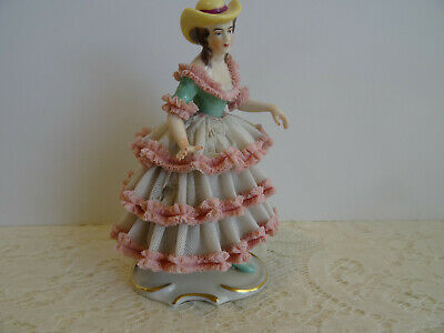 $ CDN48.44 • Buy Antique / Vintage Dresden Figurine Porcelain Lace Lady With Hat - Germany