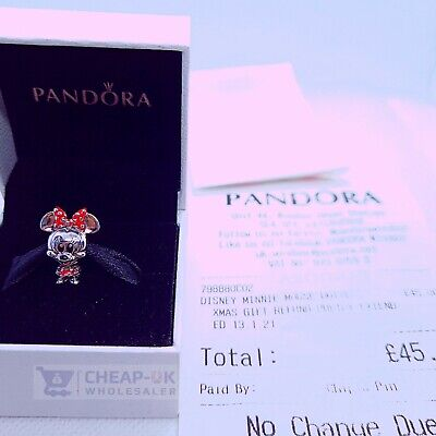 REAL S925 ALE Disney Pandora Minnie Mouse Dotted Dress Charm FREE GIFT POUCH • 16.99£