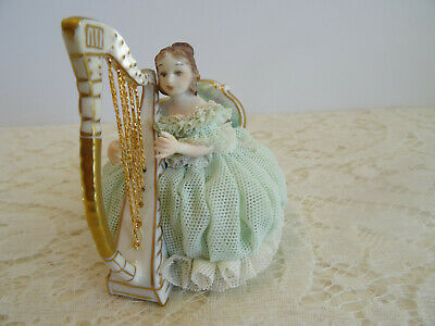 $ CDN56.29 • Buy Vintage Muller Volkstedt Irish Dresden Figurine Porcelain Lace Lady - With Harp
