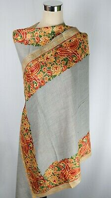 £52.99 • Buy Kashmiri Shawl Grey, Winter Special, Perfect Gift, Fine Embroidery, Scarf.