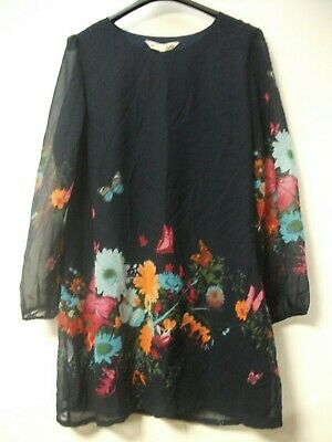 Yumi Long Sleeve Shift Dress In Floral & Butterfly Print- Navy UK 14 JS003 MM 03 • 39.99£
