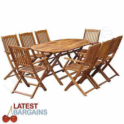AU611.83 • Buy 9 Piece Outdoor Dining Setting Wooden Patio Furniture Folding Table & Chairs Set