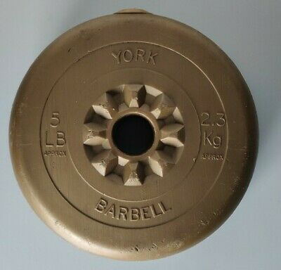 2x5lb/2.3kg Weight Plates 1 Inch Vinyl York Barbell Dumbbell Spin-Lock • 16£