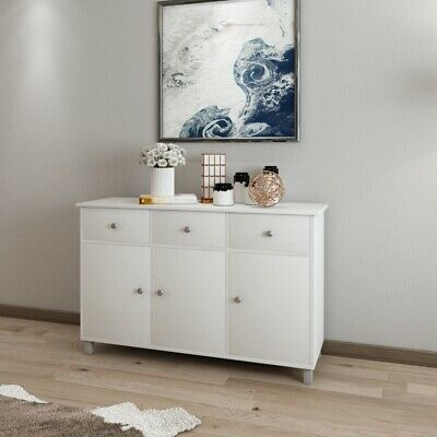 Modern 3 Doors Drawers White Sideboard Cupboard Buffet Storage Cabinet Unit UK • 129£