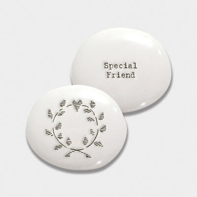 Tiny Porcelain Pebble SPECIAL FRIEND East Of India 4.7 X 4 X 1.5 Cm New • 4.49£