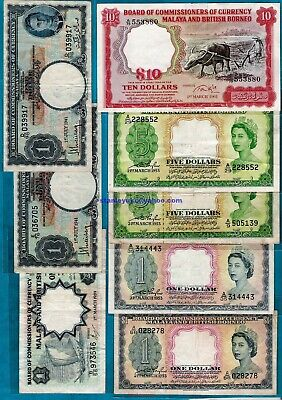 £39.99 • Buy Malaya And British Borneo Board Of Commissioners Of Currency $1 - $10 RARE
