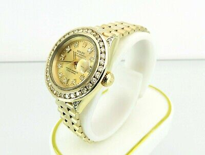$ CDN9750 • Buy Rolex Oyster Perpetual DateJust Solid 18K Yellow Gold Diamonds Womens Watch