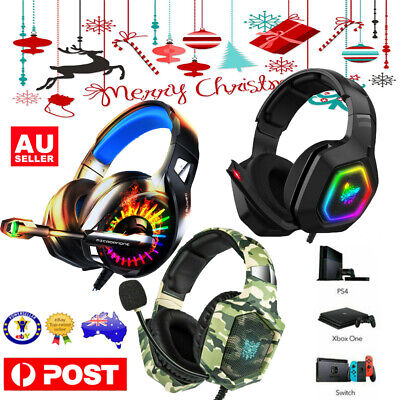 AU32.80 • Buy Xmas Gaming Headset Mic LED Headphones Surround For PC Mac PS4 Xbox One Laptop