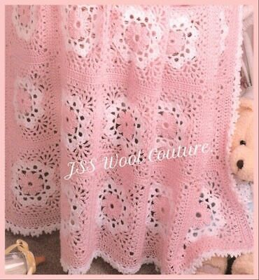 CROCHET PATTERN Baby Blanket Lacy Cot Pram Cover Shawl Motif 4ply Tablecloth 912 • 2.40£