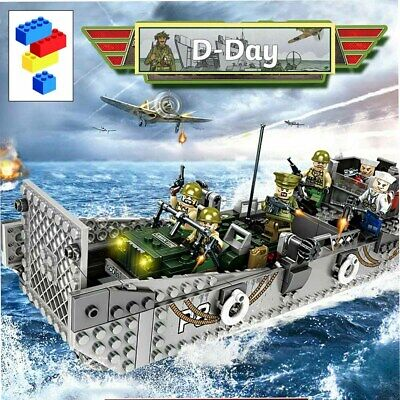 WW2 Military Landing Craft Boat + Army Jeep Truck + Soldiers Normandy Fit Lego/ • 20.99£