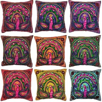 Peacock Suzani Cushion Covers Eclectic Boho Indian Pillow Case Gypsy 40cm Square • 5.99£