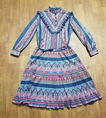 AU78.44 • Buy 1970s Vintage Navy & Wine Victoriana Dress UK Size 14 Vintage Clothing