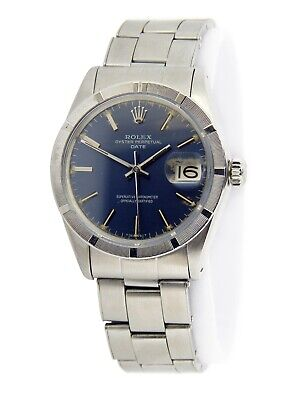 $ CDN4799.20 • Buy Mens Rolex Date Stainless Steel Watch Oyster Rivet Band Blue Dial Vintage 1501