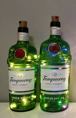 2 X  Tanqueray Light Up Gin Bottles With New Sets Of  Warm White Lights. Pair • 6£