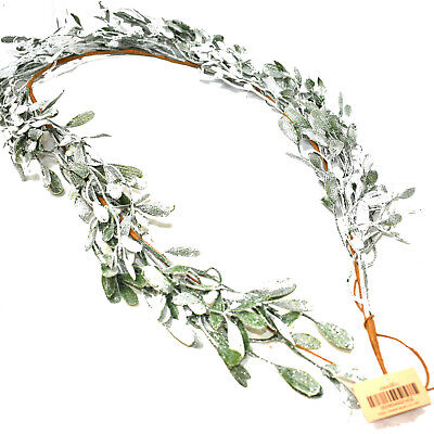 85cm CHRISTMAS FROSTED MISTLETOE GARLAND GLITTER DOOR HANGER DECORATION WREATH  • 17.99£