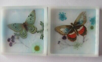Handmade Resin Square Coloured Coasters/Coasters/Home/Gifts Butterfly 4  (4) • 10£