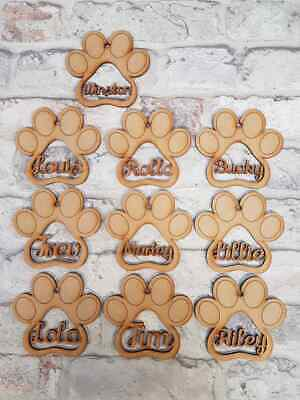 3mm Mdf Paw Print With Pet Name Designer Baubles Christmas Novelty Craft Shapes • 1.85£