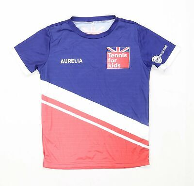 £5 • Buy Preworn Girls Graphic Blue Tennis For Kids Top Age 8 Years