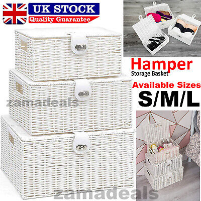 Resin Woven Wicker Xmas Hamper Basket Storage Box With Lid & Lock Gift In 3 Size • 16.99£