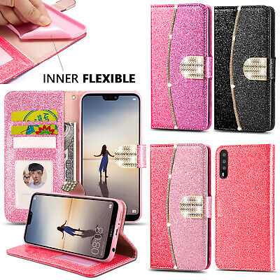 Case For Huawei P40 P30 P20 Lite P Smart 2019 Bling Diamond Wallet Leather Cover • 3.99£