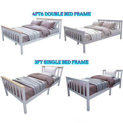 Wooden Single Bed & Double Bed Frame Solid Pine Slats Bedroom Furniture • 51.99£