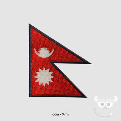 Nepal National Flag Patch Embroidered Iron On Sew On Patch Badge  • 2.19£