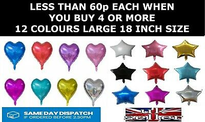 18 Inch Big Star Heart Foil Balloons Helium Party Birthday Wedding 12 Colours • 1.38£