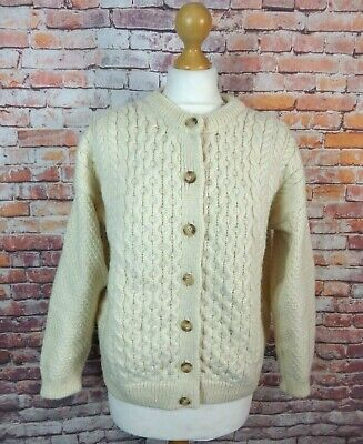 Vintage Cream Highland Home Pure Wool Cable Aran Chunky Knit Button Cardigan 16  • 22.99£