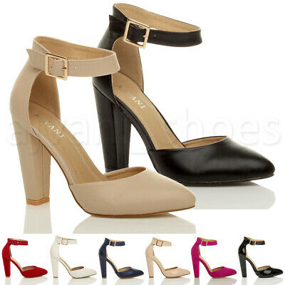 Womens Ladies High Block Heel Ankle Strap Buckle Pointed Court Shoes Size • 19.99£