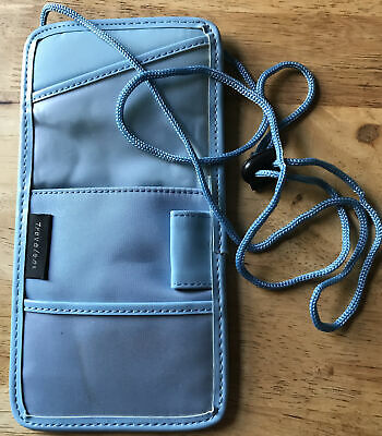 Travelon Blue Travel Passport Neck Pouch Ticket Money Secure Wallet Bag Card • 5£