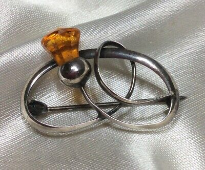 Antique Victorian Sterling Silver & Citrine Glass Celtic Knot & Thistle Brooch • 5.15£