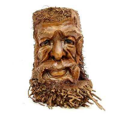 £19.95 • Buy Root Wood Carving Ethnic Green Man Woodcarving Storage Pen Holder Decor Gift