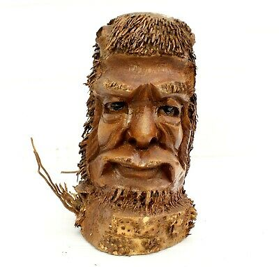 £17.50 • Buy Root Wood Carving Ethnic Green Man Weird Storage Pen Holder Decor Gift Christmas