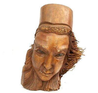 £12.67 • Buy Root Wood Carving Ethnic Green Man Weird Storage Decor Gift CLEARANCE