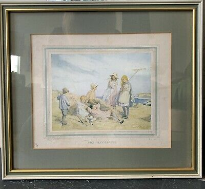 Margaret W Tarrant Framed Vintage Print 'The Haymakers' Rural Country 1940s • 17.99£