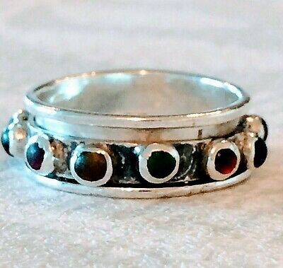 £24.50 • Buy Ring Band Sterling Silver 925  Stacking Spinning Ring  Size P (1655J)