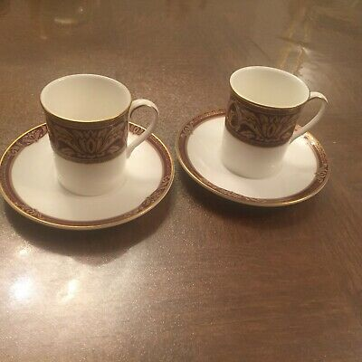 GORGEOUS Royal Doulton Tennyson RARE Coffee Cup & Saucer Set For 2 BRAND NEW • 38.50£