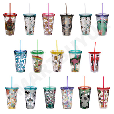 £9.95 • Buy Double Walled Plastic Cup With Lid And Straw 500ml Travel Cold Drinks Insulated