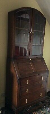 £140 • Buy Antique Vintage Bureau And Glass Fronted Bookcase
