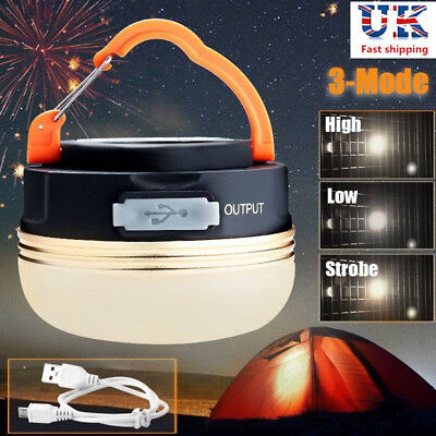 USB Rechargeable LED Camping Tent Lantern Super Bright Night Light Lamp Outdoor • 6.81£