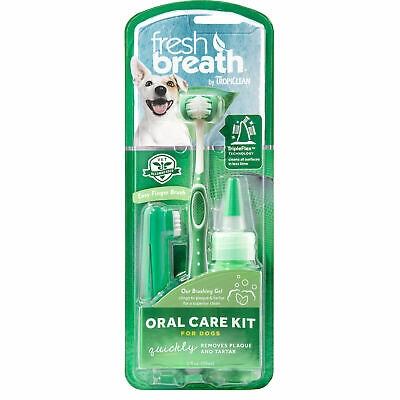 TropiClean Fresh Breath Plaque Remover Oral Care Kit For Dogs Large 2 Oz • 8.61£