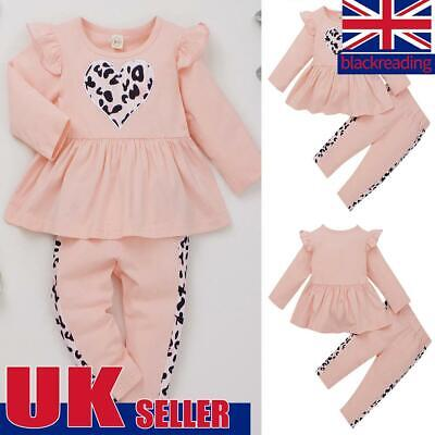 Toddler Baby Girls Hoodies Ruffle Long Sleeve Tops Pant Outfits Suits Tracksuit • 11.79£