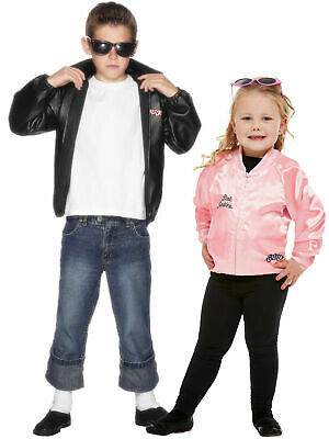 Boys Girls Official Grease T-Birds Pink Ladies Jacket 50's Fancy Dress Costume • 19.45£